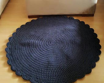 Crochet Dolly Rugs Dark Blue color