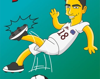 Soccer Player Gift  - Custom Portrait as Yellow Cartoon Character / soccer gifts / soccer coach gifts /soccer gifts for him /fun soccer gift