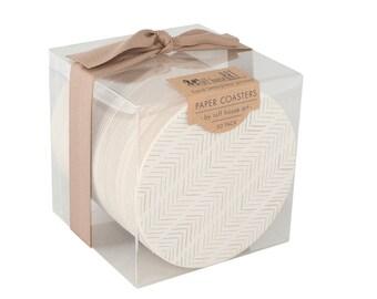 Bulk Coaster Boxed Set - Chevron Herringbone Wedding Coasters - Letterpress Paper Wedding Event Shower Favor Gift Bar Accessory