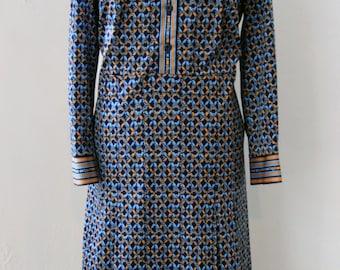 Vintage dress / 70s with geometric pattern