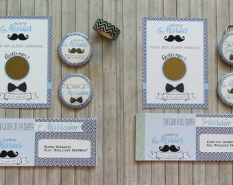 Godfather godmother theme mustache gift sets