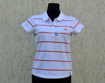 Adidas Polo White Stripped Outdoors Womens T-Shirt NOS Adidas Trefoil Sportswear Polo T-Shirt Short Sleeve Polo Shirt Large Size