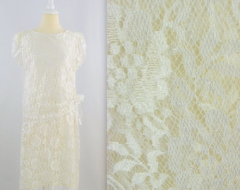 Sale Vintage White Lace Wedding Party Dress - 80s does 20s Gatsby Style - Medium Large