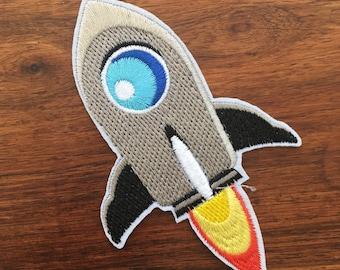 Rocket Ship - Iron on Appliqué Patch
