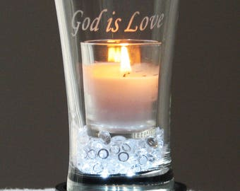 God is Love, Engraved Candle Vase (white)