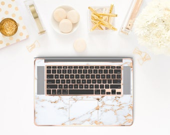 Marble Bianco Sivec and Rose Gold Chrome Detailing Inner Keyboard Tray Vinyl Skin          - Platinum Edition