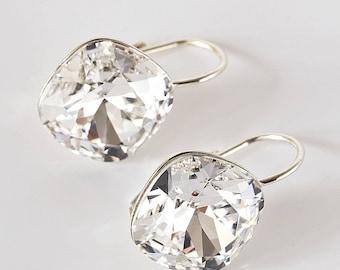 925 Sterling Silver, 12х12 мм Crystal, Swarovski Earrings, Crystal Dangle Earrings, Crystal Teardrop, Leverbacks, transparent, white