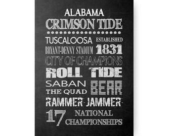University of Alabama Crimson Tide Chalkboard Digital Download