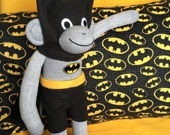 Batman Doll with Pillowcase ~ Sock Monkey Doll ~ The Bat Monkey !