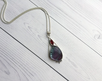 Rainbow Fluorite necklace Chunky pendant Genuine gemstone jewelry Empath protection 925 Sterling silver Boho girlfriend gift daughter Healin