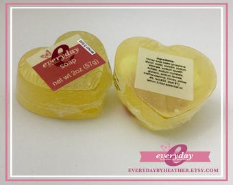 Lemon 5 Fold Scented: Heart Shaped - Honey Glycerin Soap - 2oz bar