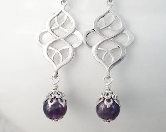 Amethyst Earrings, Art Nouveau Earrings, Silver Celtic Earrings, Purple Gemstone Earrings, Spiritual Celtic Style Jewellery, Handmade UK