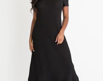 1990 Black Rib Knit Dress M