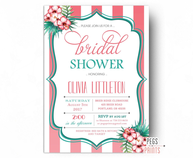 Tropical Bridal Shower Invitation Luau Bridal Shower