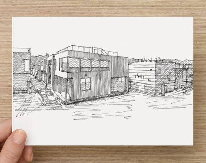 Ink Sketch of Houseboats on Lake Union in Seattle, Washington - Drawing, Art, Pen and Ink, Modern, Floating Home, Pen and Ink, 5x7, 8x10