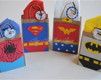 Superhero Favor Bags / Spiderman / Batman / Superman / Wonder Woman / Superhero Party