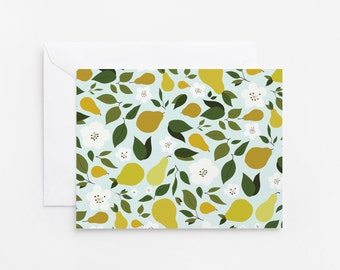 Illustrated Notecard Set of 8 | Folded Pear Floral Stationery Cards with Envelopes