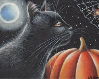 Black Cat Halloween Pumpkin Spider Full Moon Original Painting 7x5