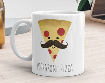 Funny Mug 11oz or 15oz - Popparoni Pizza - Gifts For Dad Pepperoni Pizza Lover Food Pun Coffee Mugs Father's Gift Happy Fathers Day Pops