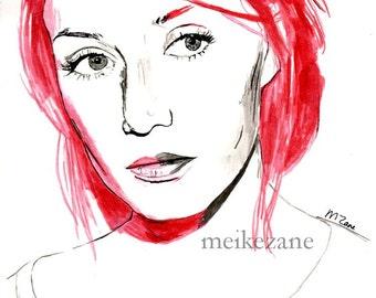Carice van Houten - original ink painting - A4