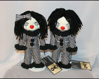 Set Of Two OOAK Hand Stitched Mini Clown Rag Dolls Creepy Gothic Folk Art By Jodi Cain Tattered Rags