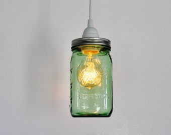 Mason Jar Pendant L& - Upcycled Hanging Lighting Fixture Featuring a GREEN Wide Mouth Quart Jar - Modern Home Decor - BootsNGus L&s & MASON JAR PENDANT Lamp Upcycled Hanging Lighting Fixture