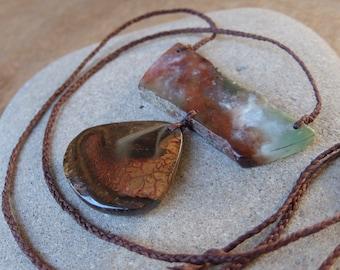 Earthy statement jewelry - Chrysoprase, Boulder Opal - primitive jewellery handmade in Australia - eco friendly - adjustable length