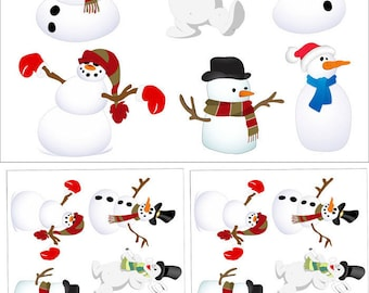 Snowman  Party - Ceramic Decals- Enamel Decal - Fusible Decal - Glass Fusing Decal ~ Waterslide Decal - 36458