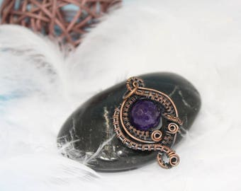 Copper wire weave pendant - Unique small elegant - Purple jade - Wrapping necklace -  Gift for her - Mother's day present for wife