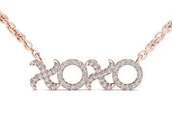 10Kt Rose Gold 0.15 Ct Diamond XO Pendant