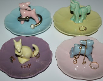 OOAK Colorful Pastels Assorted Baby Animals Vintage Jewelry Holder Set of 4