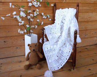 "Receiving Blanket with tassels - Easter ~ White -Christening - Baptism - Baby Shower Gift- Newborn Photos- blanket 30""x30"""