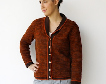 Vintage Knit Cardigan / Pumpkin and Brown Button-Up Cardigan / Size M L