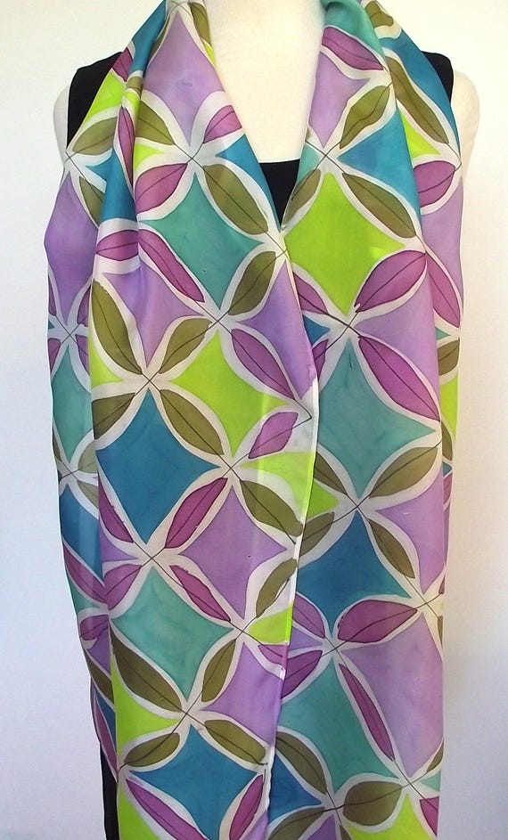 """Hand Painted Silk Scarf, Diamonds and Leaves in Lime, Turquoise, Purple, Plum and Olive, 14x72"""""""