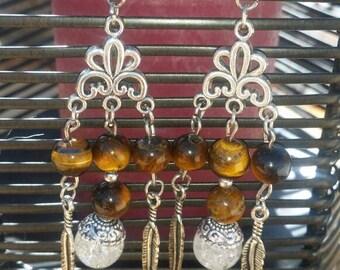 Rock crystal and Tiger eye earrings
