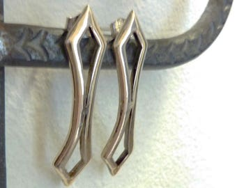 Double Diamond Stud Earrings, Bronze and Sterling Silver, Mid-Century Modern, Art Deco Retro Posts