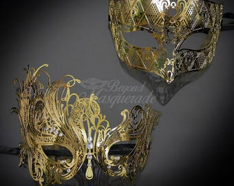Couples Masquerade Mask, Gold Elegant Couples Collection, Gold Masquerade Masks, His and Her's Masquerade Mask Set