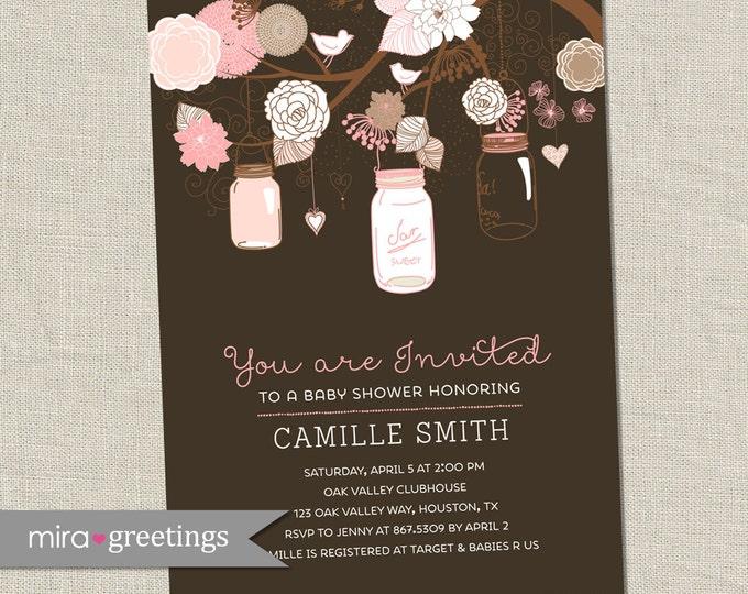 Floral Mason Jar Baby Shower Invitation - Printable Digital File