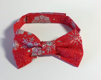LIittle Boys Christmas Bow Tie - Red or Royal Blue with Metallic Silver Snowflakes - Xmas Bow Tie - Size Infant, Toddler or Youth
