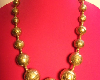 Native Brass Necklace with Huge Hollow Beads