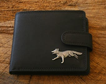 Fox Running Leather Wallet Brown or Black Leather Hunting Gift