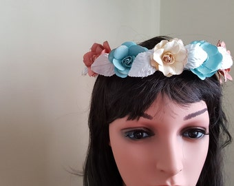 Beach wedding wreath for Bride, Maids or flowergirl! Dusty shades of ivory,teal.yellow and pink
