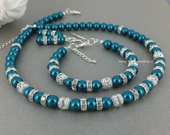 Teal Jewelry Teal Necklace Teal Bracelet Pearl Jewelry Set Bridesmaids Gift Bridesmaid Jewelry Bridesmaid Necklace Teal Wedding