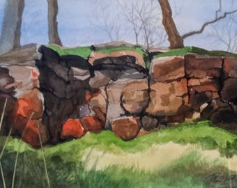 """Watercolor Painting - """"Rock Outcropping"""""""