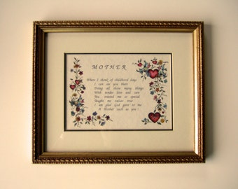 Beautiful Mother Poem Mother's Day Gift Unique Framed Wall Hanging Loving Poem Red Hearts Colorful Flowers Blue Birds Unusual Gift for Mom