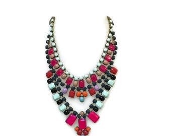 FANTASIA hand painted rhinestone super statement necklace