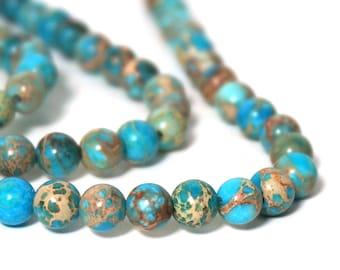 6mm Aqua Terra Jasper, round turquoise gemstone beads, full & half strands available (920S)