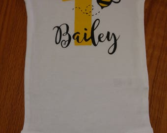 Bee Theme First Birthday Girl Bodysuit or T-Shirt - Birthday Girl - Personalized - Bee Theme