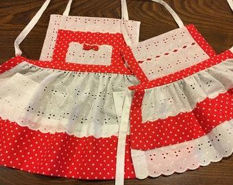 Red Polka Dot Vintage Children's Aprons