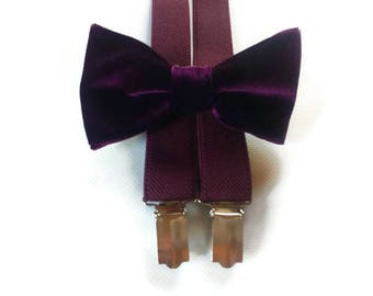 PLUM wedding velvet bow tie burgundy suspenders set/for groomsmen/for groom/for ring bearer/plum bow tie and suspenders/for toddler/infant